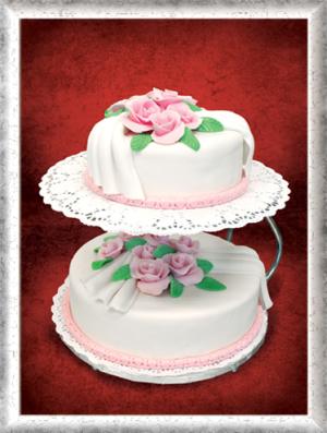 Hochzeitstorte 2-stöckig, weiß, rosa Rosen