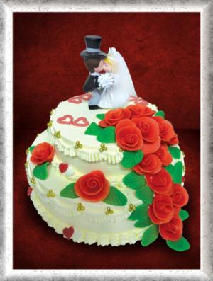 Hochzeitstorte 2-stöckig, Creme, rote Rosen