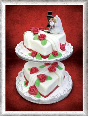 Hochzeitstorte, 2-stöckig, Herzen, Fondant