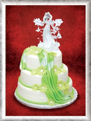 Hochzeitstorte, 3-stöckig, Fondant, grüne Blumen