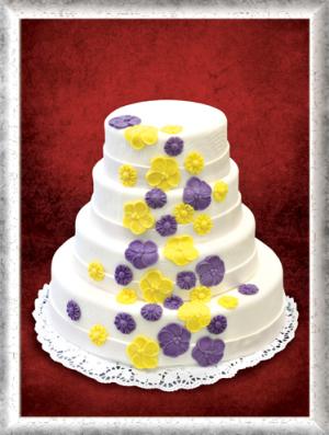 Hochzeitstorte 4-stöckig, Fondant, lila-gelbe Blumen