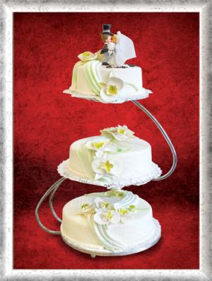 Hochzeitstorte, 3-stöckig, Fondant, Zuckerlilien