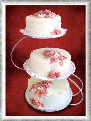 Hochzeitstorte, 3-stöckig, Fondant, rosa-weiße Blumen