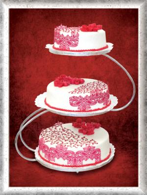 Hochzeitstorte, 3-stöckig, Fondant, Rosa Blumen und Ornamente