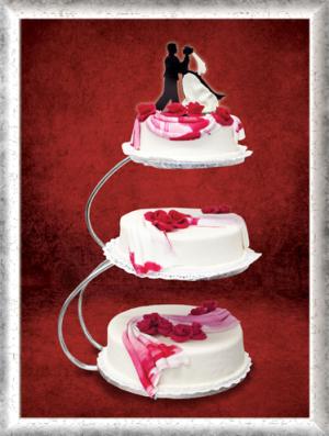 Hochzeitstorte, Fondant, rote Rosen, Schoko-Brautpaar