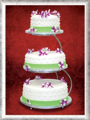 Hochzeitstorte, 3-stöckig, Fondant, lila-weiße essbare Blüten