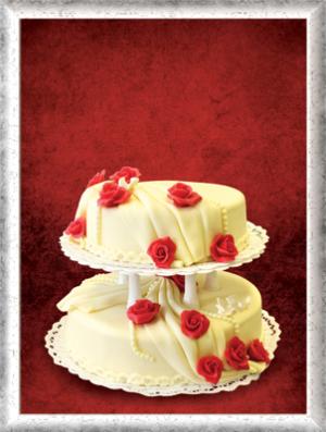 Hochzeitstorte, 2-stöckig, Marzipan, rote Rosen