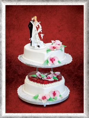 Hochzeitstorte, 2-stöckig, Fondant, Erdbeeren, Zucker-Orchideen