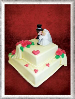 Hochzeitstorte, 2stöckig, Fondant, rosa Rosen