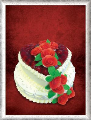 Hochzeitstorte, 2-stöckig, Creme, Erdbeeren, Herzform, Rote ROsen