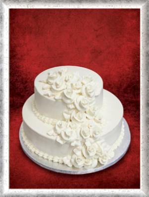 Hochzeitstorte, 2-stöckig, Creme, weiße Cremerosen