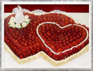 Doppelherz, Creme, Erdbeeren, Cremerosen