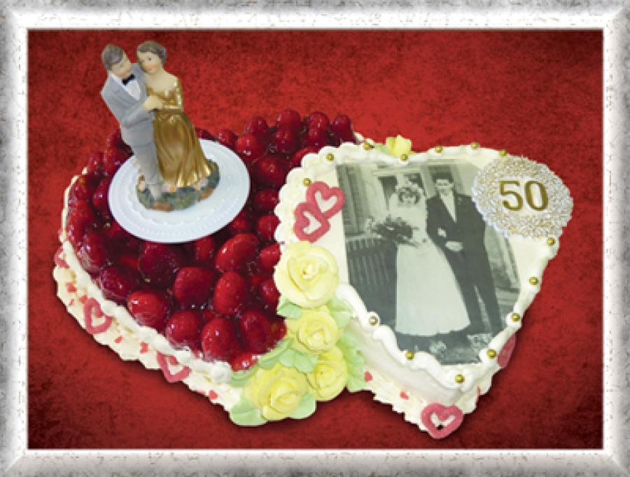 Doppelherz, Creme, Erdbeeren, Bild, goldene Hochzeit, Cremerosen