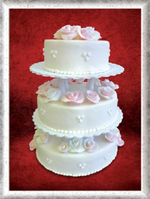 Hochzeitstorte, 3-stöckig, Fondant, rosa Rosen