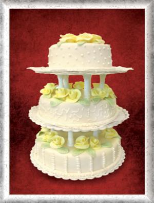 Hochzeitstorte, 3-stöckig, Fondant, gelbe Rosen